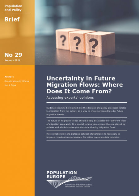 "Cover of Report ""Uncertainty in Future  Migration Flows: Where  Does It Come From?"""